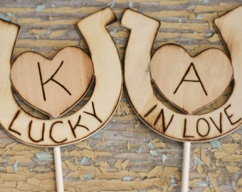 Lucky In Love Personalized Horseshoe Wedding Cake Topper (item E10040)