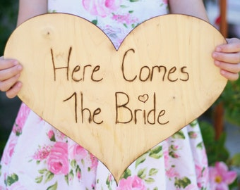 Rustic Here Comes The Bride Sign Engraved Wood Heart (Item Number 140181)