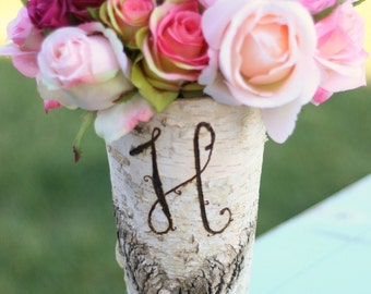 Personalized Birch Bark Wood Vase Rustic Home Decor (item E10290)