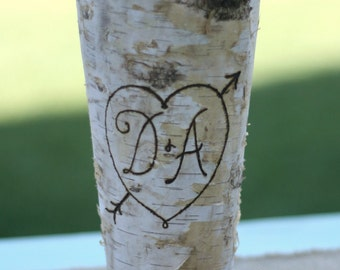 Personalized Birch Bark Wood Vase (item E10543)
