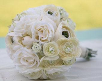 Silk Bride Bouquet Cream Roses Ranunculus
