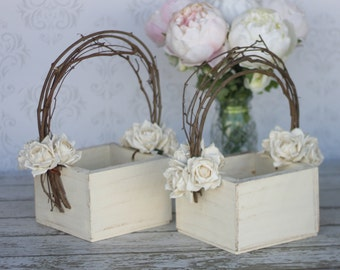 Flower Girl Basket Shabby Chic Wedding Decor SET OF 2 (Item Number 140243)