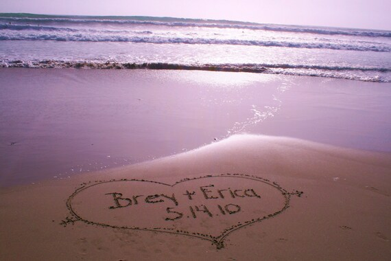 Personalized Beach Photograph Names In Sand For Deployed Marine Corps, Navy, Army