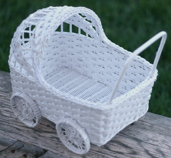 White Baby Carriage Basket Baby Shower Decoration by braggingbags