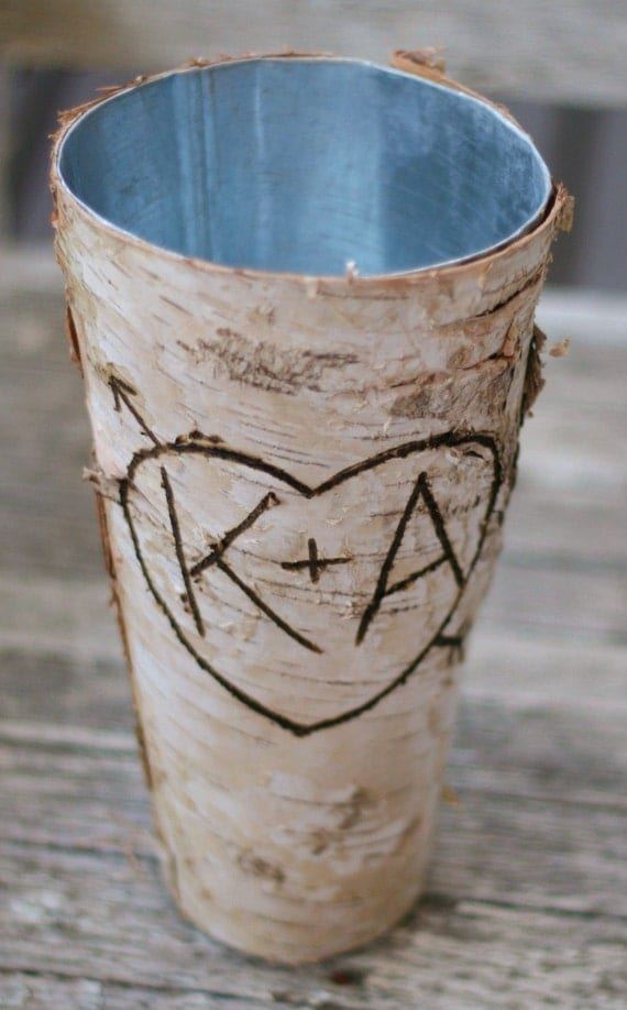 Birch vase centerpiece personalized by braggingbags on etsy