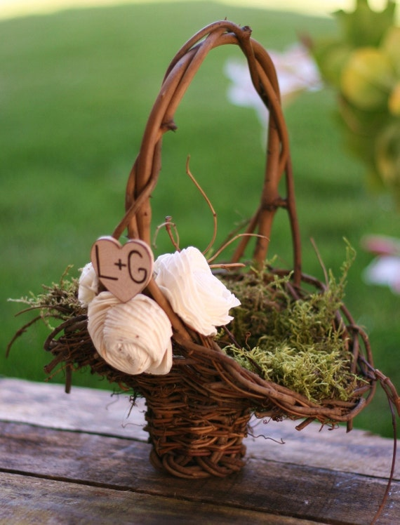 Rustic Flower Girl Basket Vintage Inspired Paper Roses Personalized Engraved Wood Heart Charm