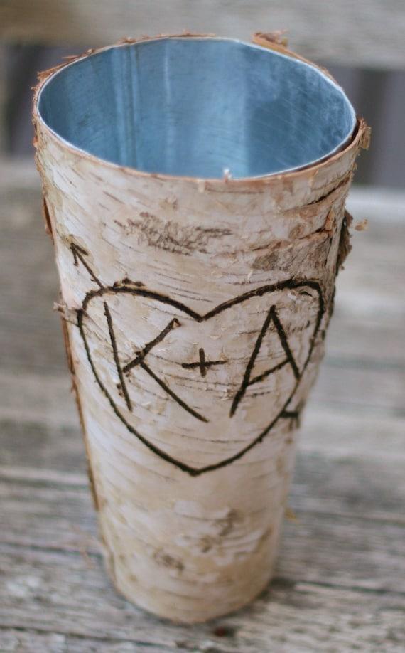 Personalized Birch Vase Rustic Wedding Decor Bridal Shower Gift   #BraggingBags