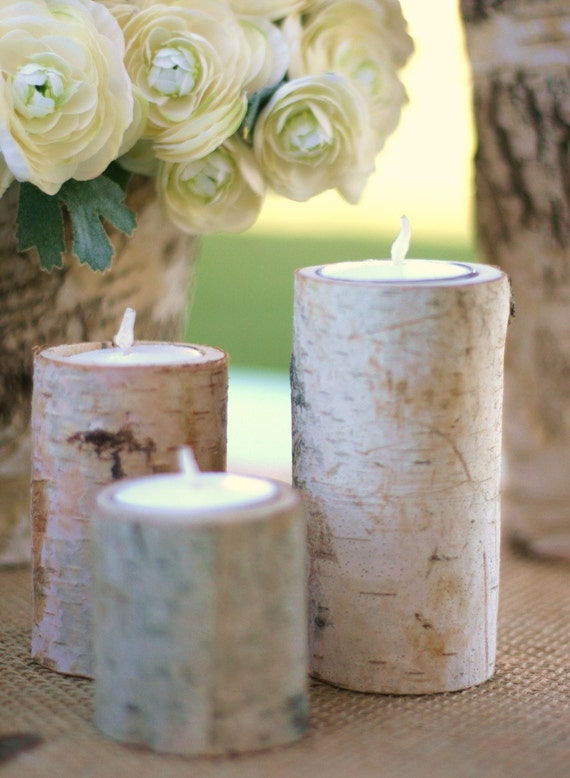 Natural Eco Friendly Birch Bark Log Votive Tea Light Candle Holders SET of 3 Wedding Centerpiece Decorations