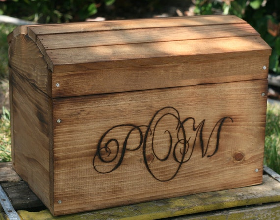 Items similar to HUGE Personalized Wedding Card Treasure ... |Wooden Chest For Wedding Cards