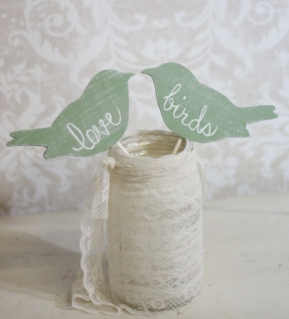Wedding Cake Topper Love Birds Shabby Chic Wedding Decor (item P106031)