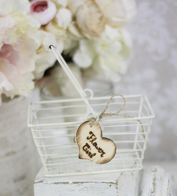 Country Chic Flower Girl Basket Rustic Wedding Decor Wire Basket