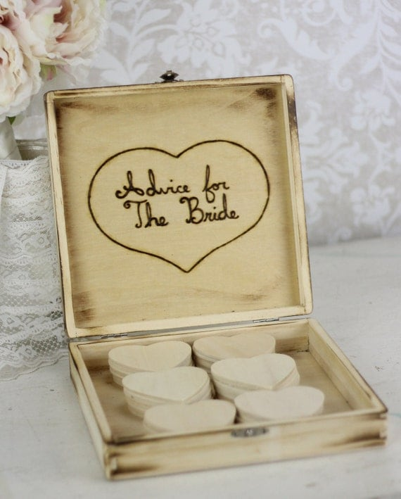Bridal Shower Guest Book Rustic Chic Wedding Decor Advice Box