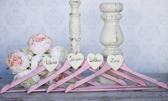 Personalized Wedding Hangers Rustic Shabby Chic Bridesmaid Gifts SET OF 4 (item P10320)