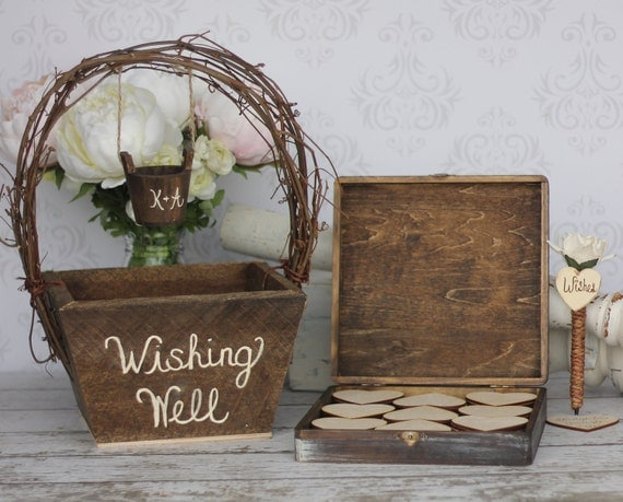 Wedding Guest Book Alternative Rustic Wedding Personalized Wishing Well Basket