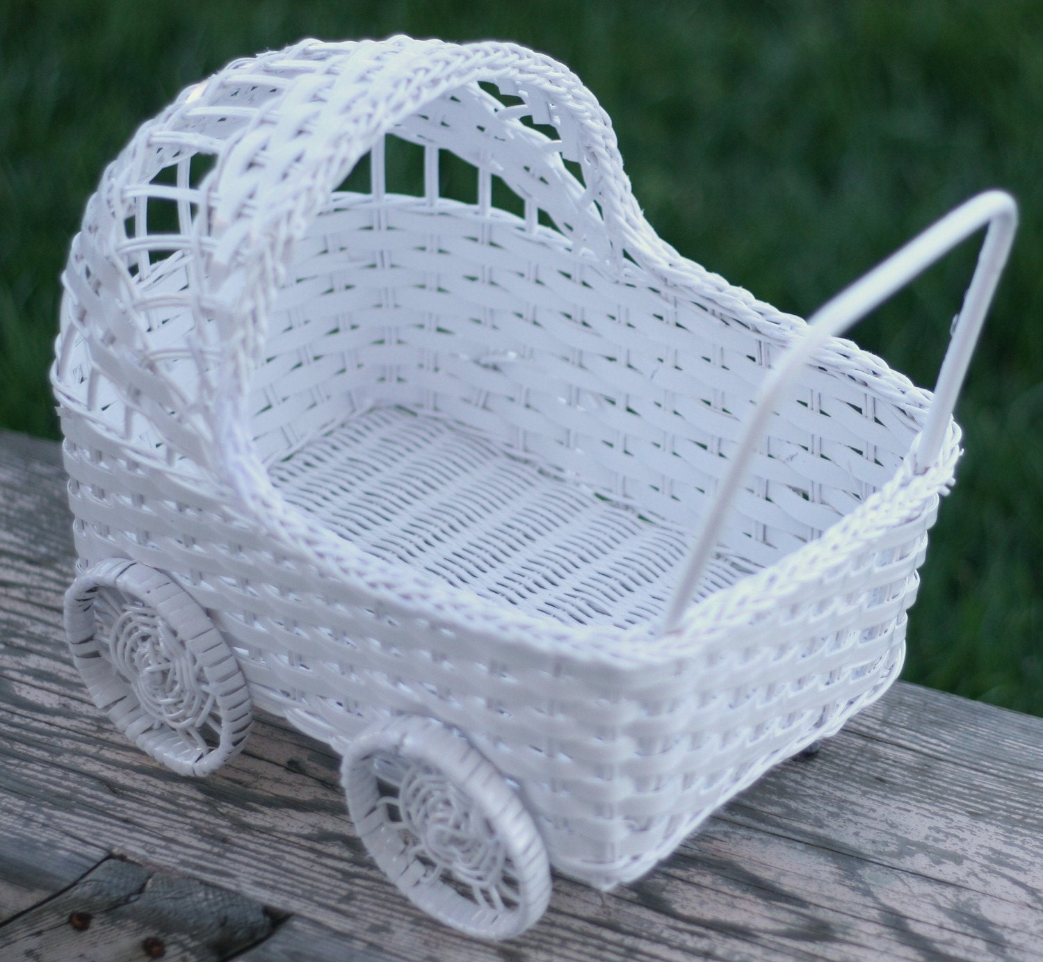 White baby carriage basket baby shower decoration by for Baby carriage decoration