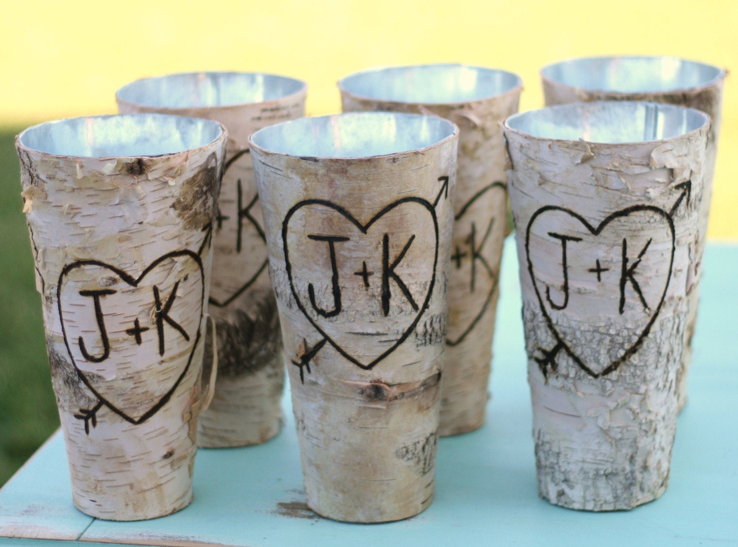 Set of 6 personalized tall birch bark wood vases by for Wood vases for centerpieces