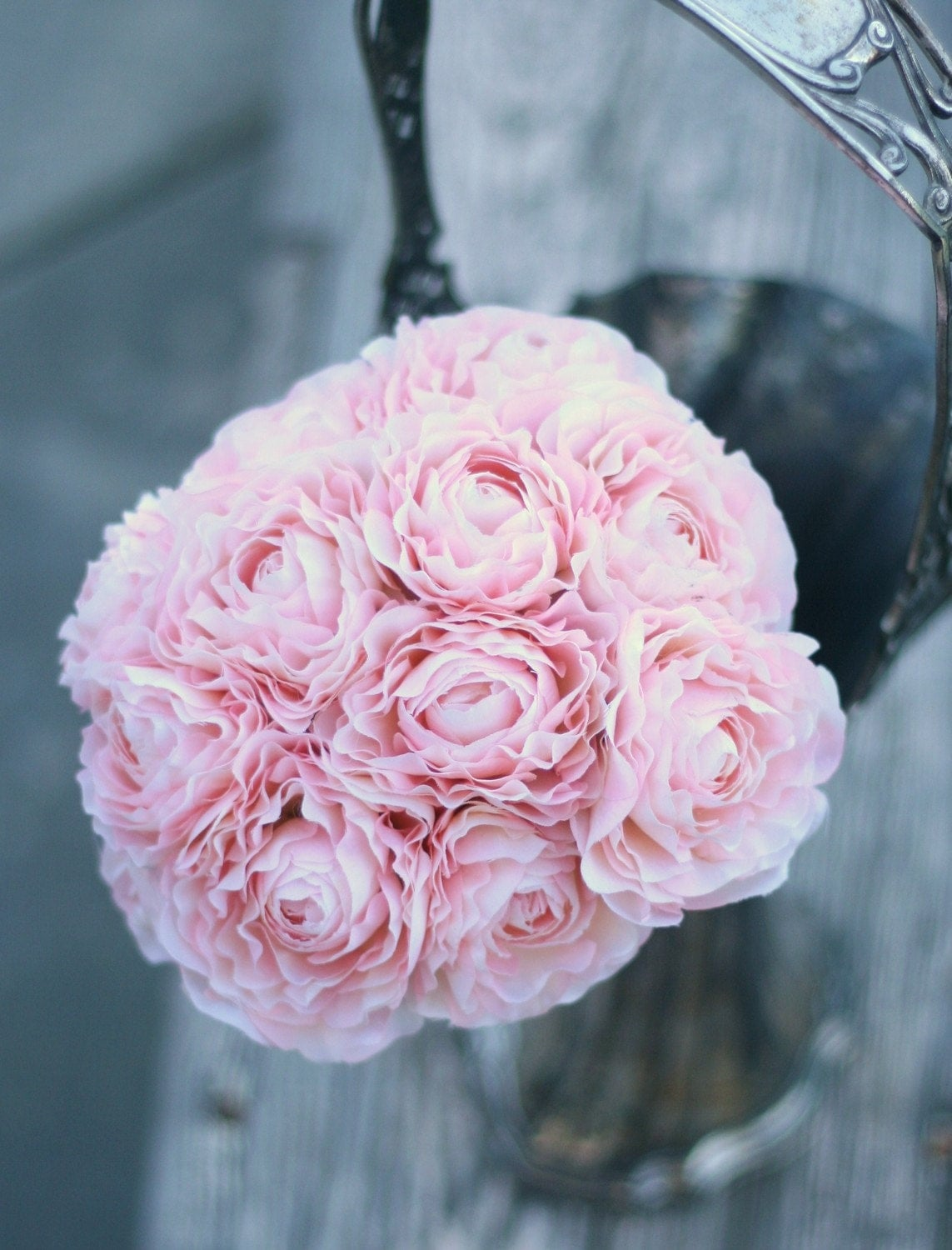 bride bouquet cotton candy pink ranunculus wrapped by. Black Bedroom Furniture Sets. Home Design Ideas