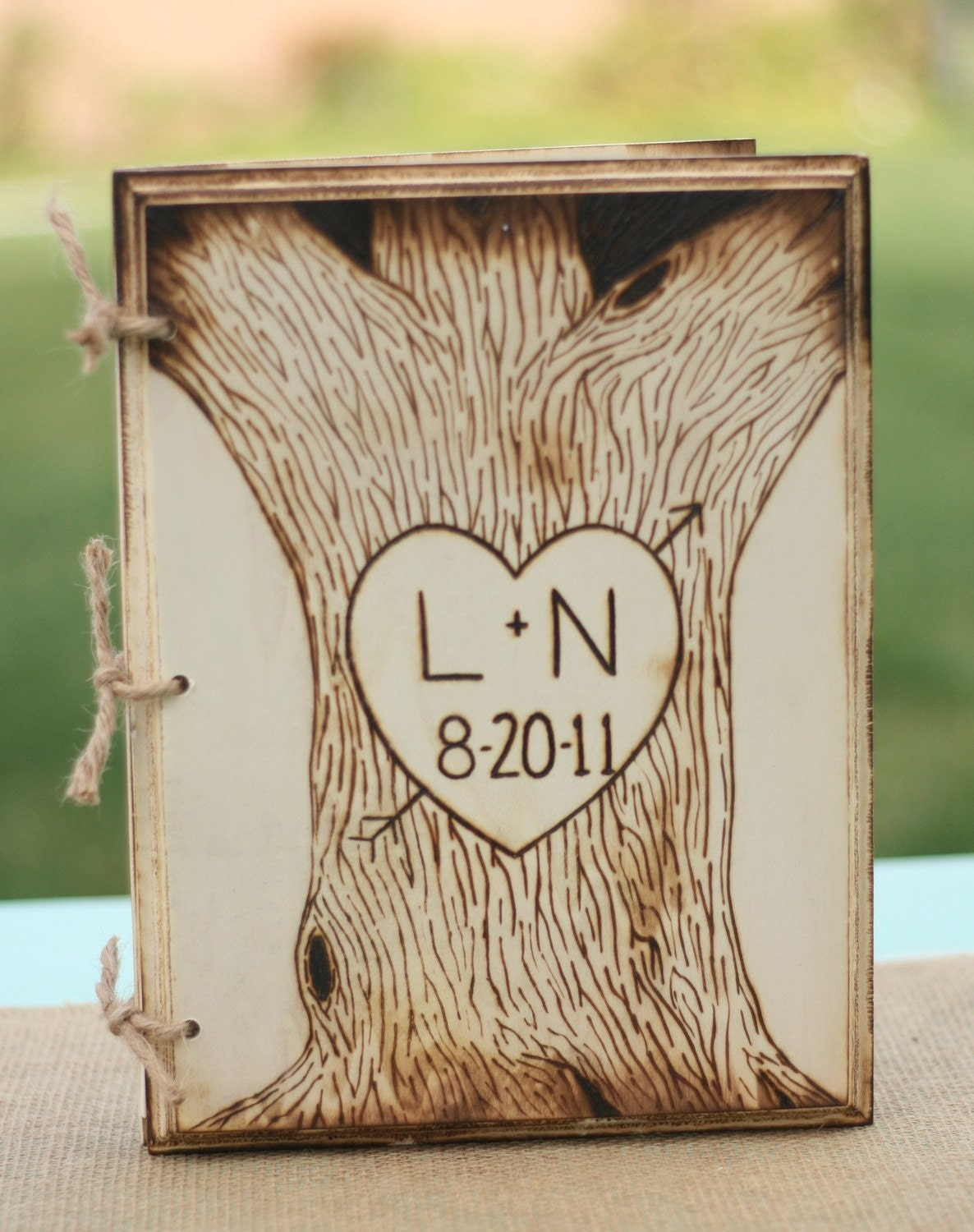 Large Personalized Engraved Carved Wood Tree Heart By