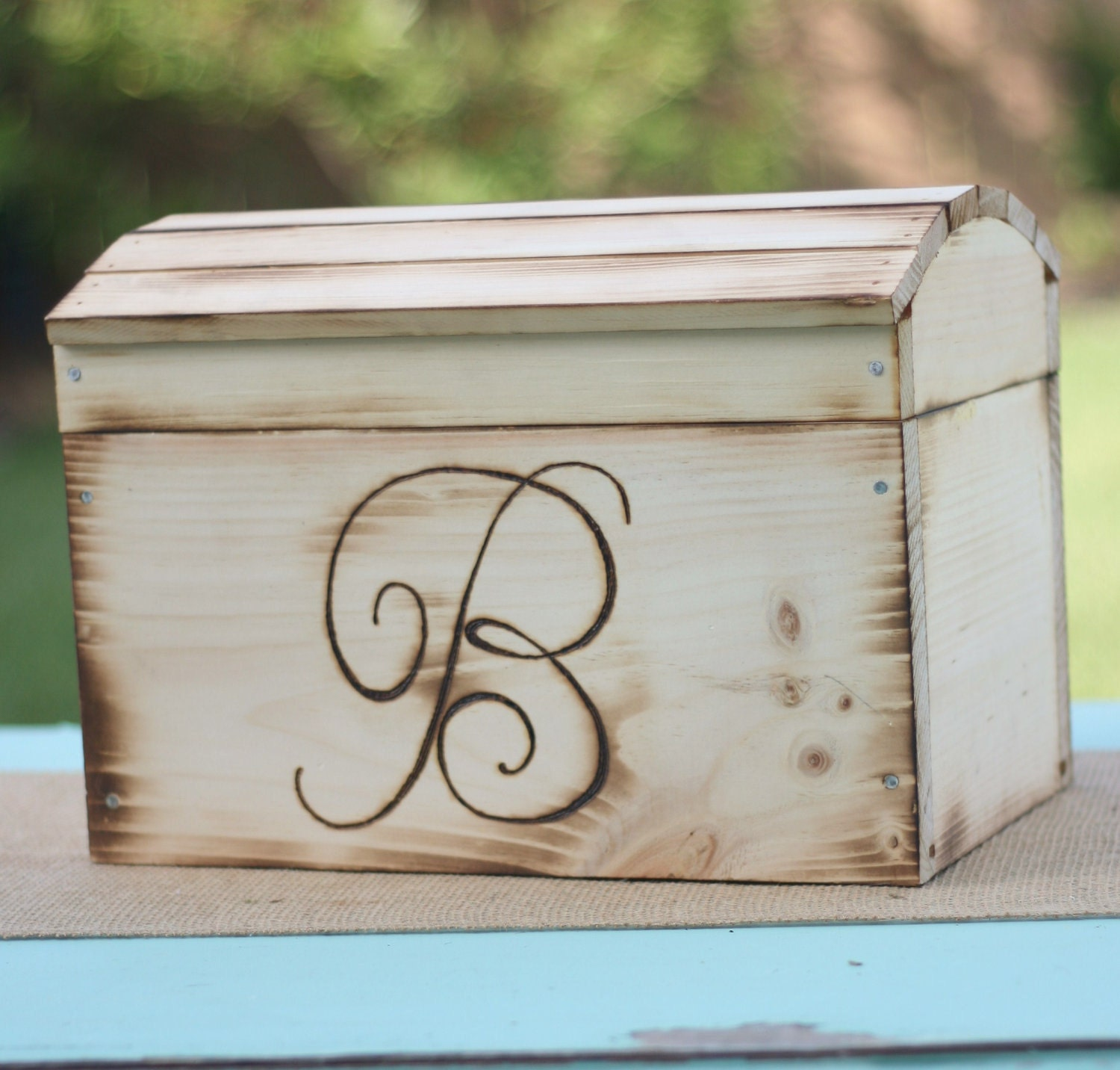 Rustic Wedding Card Box Personalized item E10155 by braggingbags