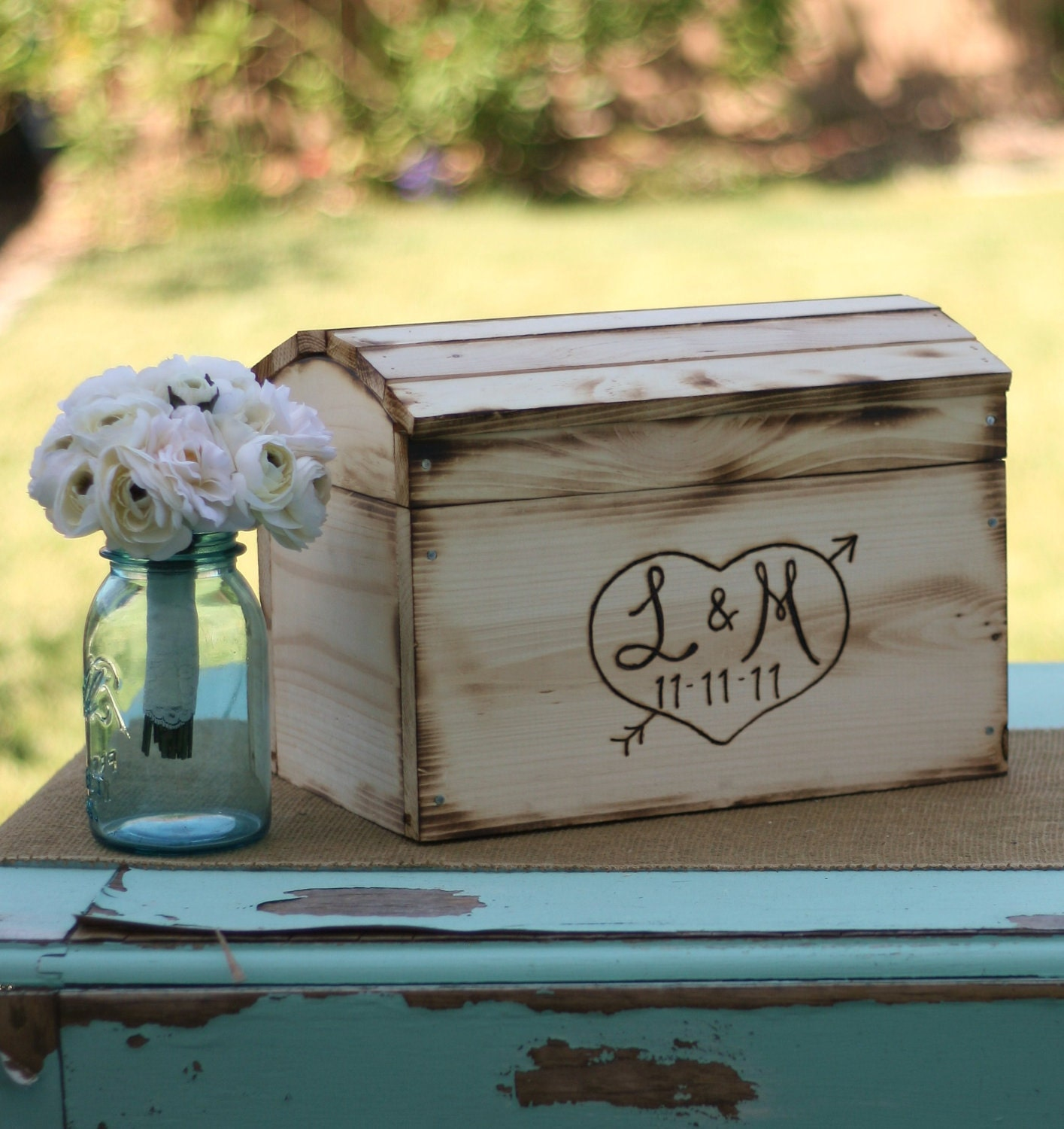 Rustic Card Box Personalized Wedding Engraved Wood Item Etsy