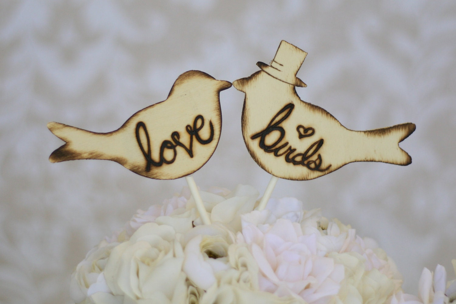 Items Similar To Cake Topper Love Birds With Top Hat Rustic Wedding Decor Item E10045 On Etsy