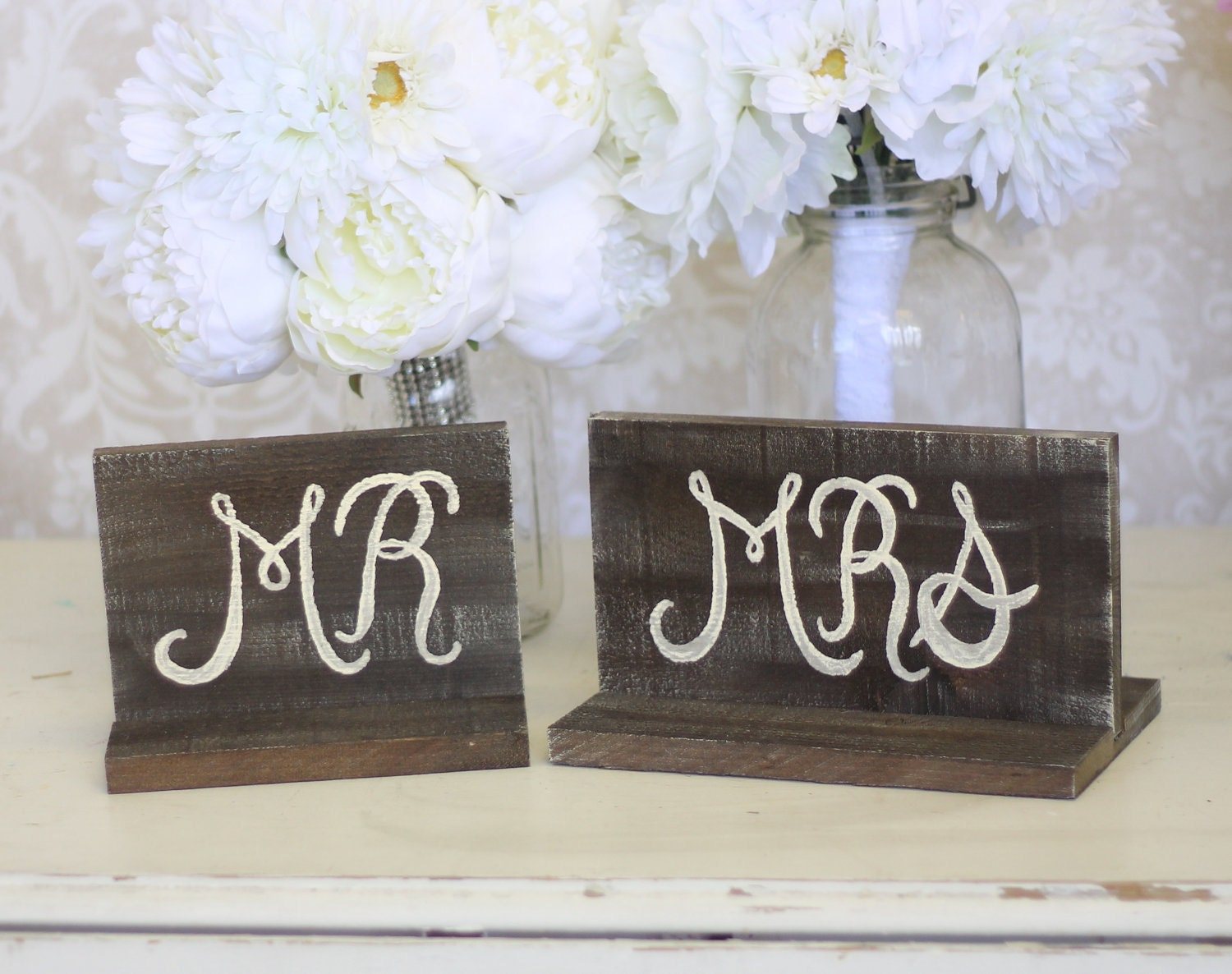 Rustic Wedding Signs Mr And Mrs Table Item P10152 By Braggingbags