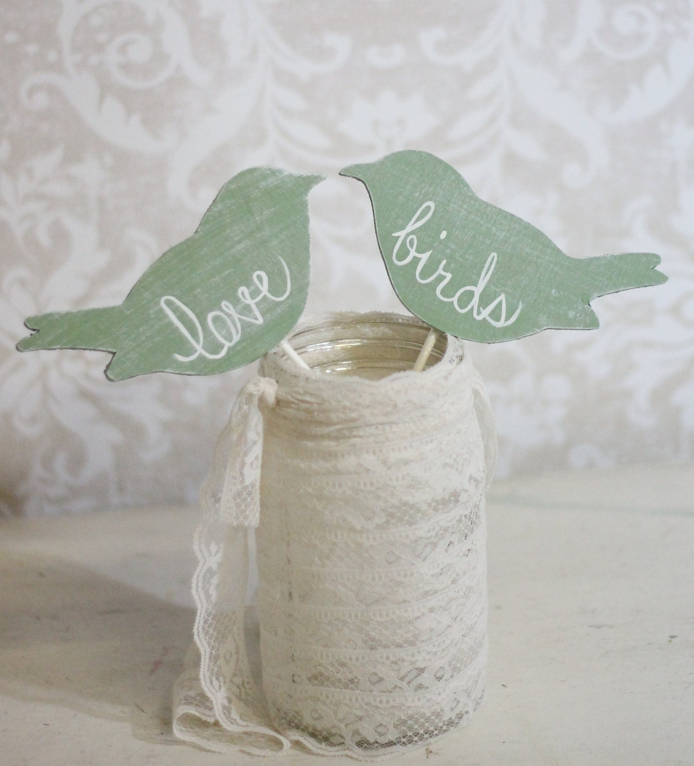 Birdhouse Wedding Decorations : Wedding cake topper love birds shabby chic by braggingbags