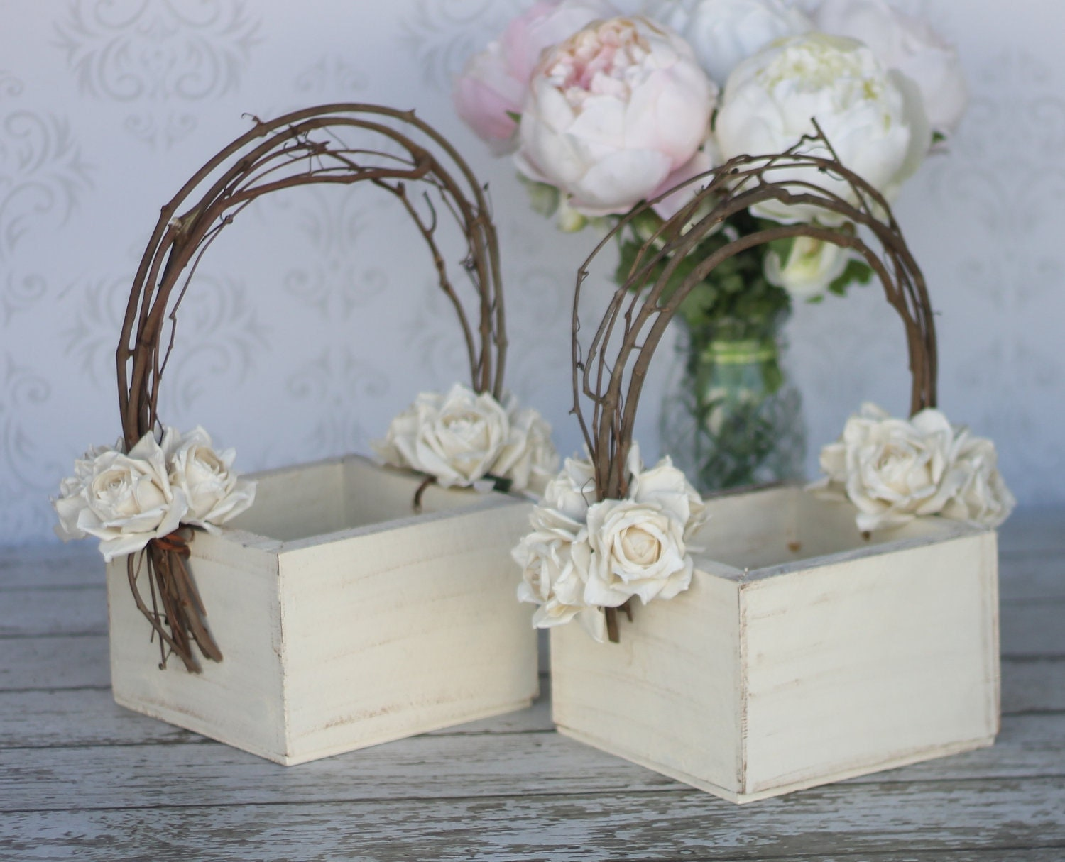 Flower Girl Basket Shabby Chic Wedding Decor Pair By