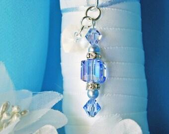 Something Blue Wedding Bouquet Charm Swarovski Crystal Bridal Bouquet Accessories