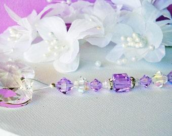 Crystal Ceiling Fan Pull Chain Purple Little Girls Room Baby Girl Nursery Swarovski Crystal Light Pulls