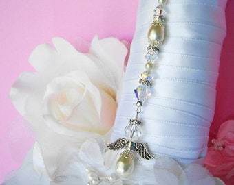 Ivory Wedding Bouquet Charm Swarovski Crystal and Pearl Angel Bridal Bouquet Charm