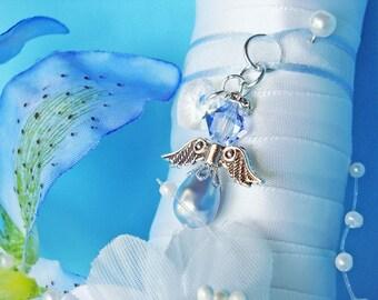 Something Blue Bouquet Charm Swarovski Crystal Angel Wedding Bouquet Charm