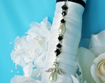 Black and White Wedding Bouquet Charm Swarovski Crystal Angel Bridal Bouquet Charm