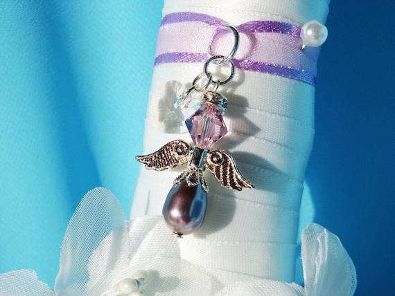 Purple Wedding Bouquet Charm Swarovski Crystal Pearl Angel Bridal Bouquet Charm
