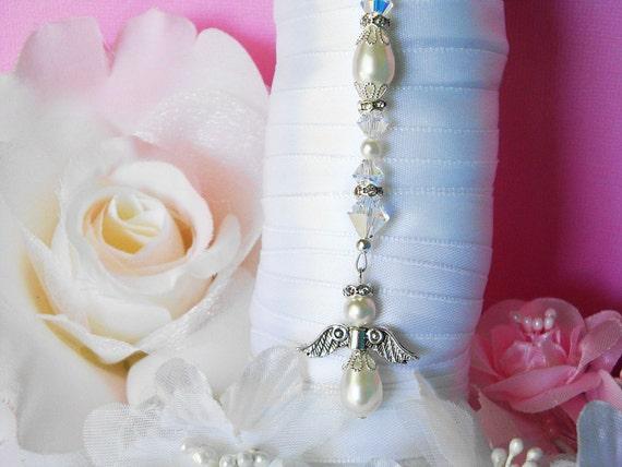 white wedding bouquet charm swarovski by crystalbluedesigns