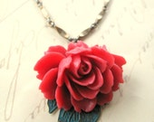 American Beauty Rose and Faux Patina Leaf Necklace NHP08