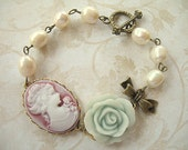 Rose Pink Cameo, Pale Blue Rose and Freshwater Pearl Bracelet BFP04