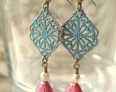 RESERVED for LINDSEY - 2 pairs of Bohemian Magenta and Turquoise Hand-Painted Filigree Drops EHP08