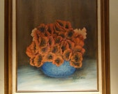 Vintage Red Poppy Bouquet Oil Painting on Canvas