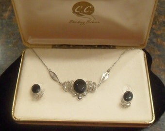 Vintage Signed Sterling Silver Blue Jewel Necklace Earring Set - SALE
