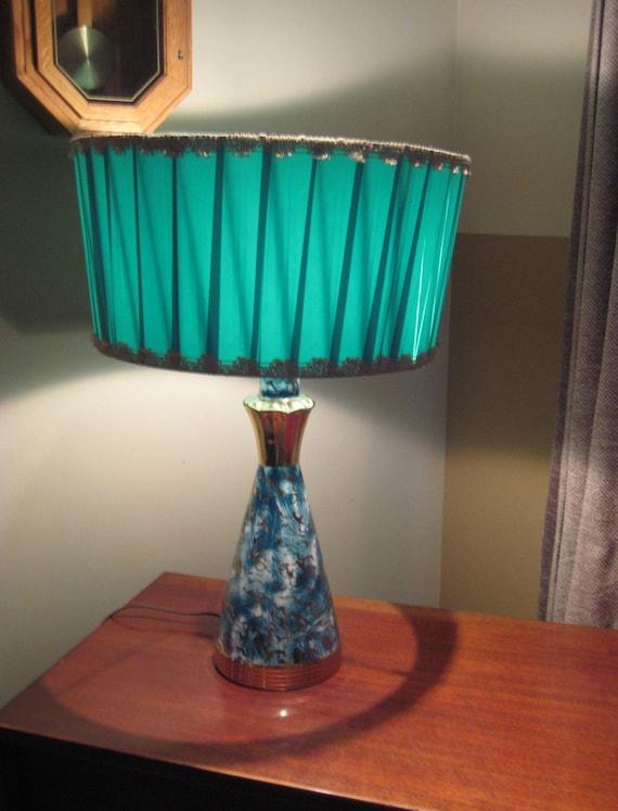 vintage turquoise gold drum ribbon shade lamp reserved for. Black Bedroom Furniture Sets. Home Design Ideas