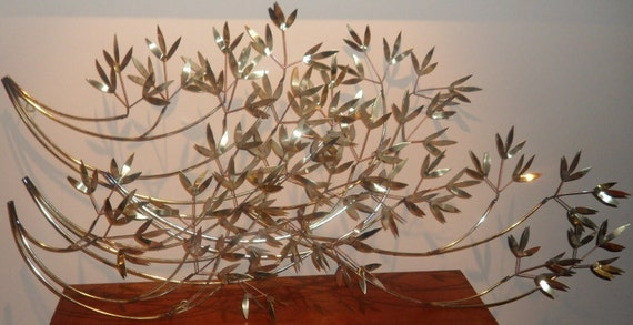Vintage huge metal wall art leaf branch sculpture sale for Metal leaf wall art