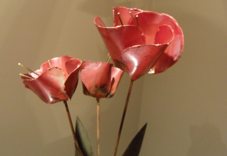 Vintage Tole Metal Tulip Flower Sculpture Wood Base
