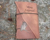 Handmade Leather Wine Journal... with an Owl in a Tree Free Personalization