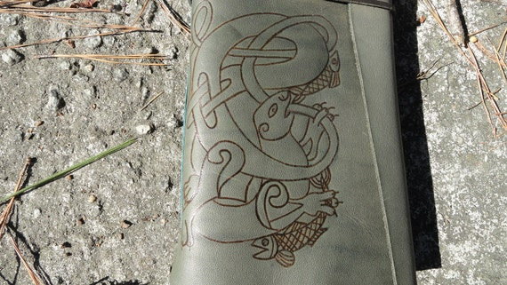Celtic Handmade Leather Journal with an Otter Design Free Personalization