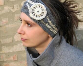 Macaria Headband with Wagon Wheel Crocheted Flower Crochet Patterns