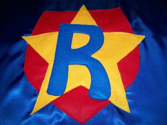superhero cape - personalized star in shield - royal blue