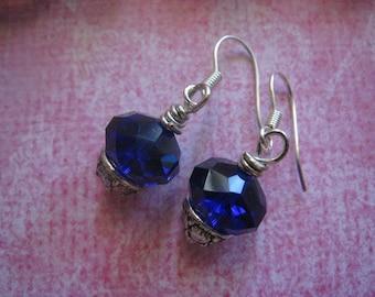 Earrings. Jewelry, Vintage, Glass, Cobalt Blue, Antique Brass, Dangle. ALEXANDRIE