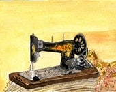 Sewing my passion watercolor..print
