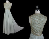 RESERVED Vintage 50s 60s Mid Century Glamour Goddess Silk Chiffon Beaded  Cocktail Party Wedding Dress